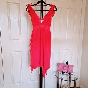 Bluebiyou 8 Orange Open V Neck Sexy Party Dress